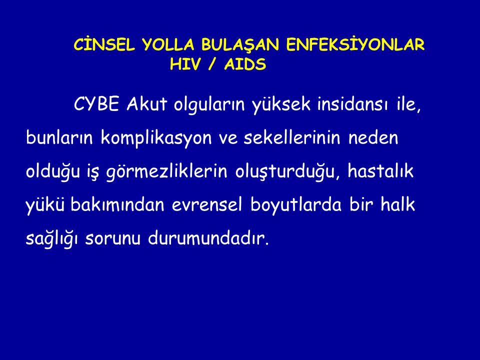 CİNSEL YOLLA BULAŞAN ENFEKSİYONLAR HIV / AIDS CYBE Akut olguların yüksek insidansı ile, bunların komplikasyon ve sekellerinin neden olduğu iş görmezli
