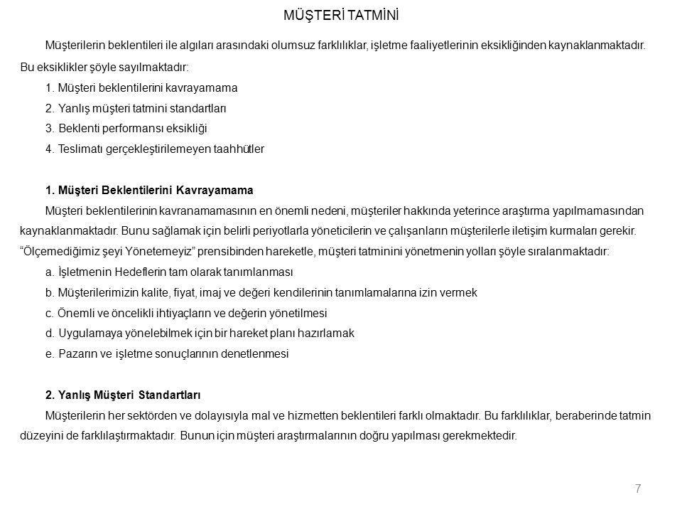 MÜŞTERİ TATMİNİ 3.