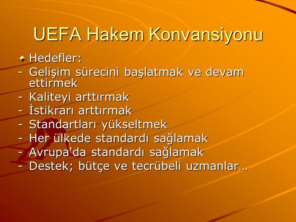 UEFA Hakem Konvansiyonu Hedefler: -Gelişim sürecini başlatmak ve devam ettirmek -Kaliteyi arttırmak -İstikrarı arttırmak -Standartları yükseltmek -Her ülkede standardı sağlamak -Avrupa da standardı sağlamak -Destek; bütçe ve tecrübeli uzmanlar…
