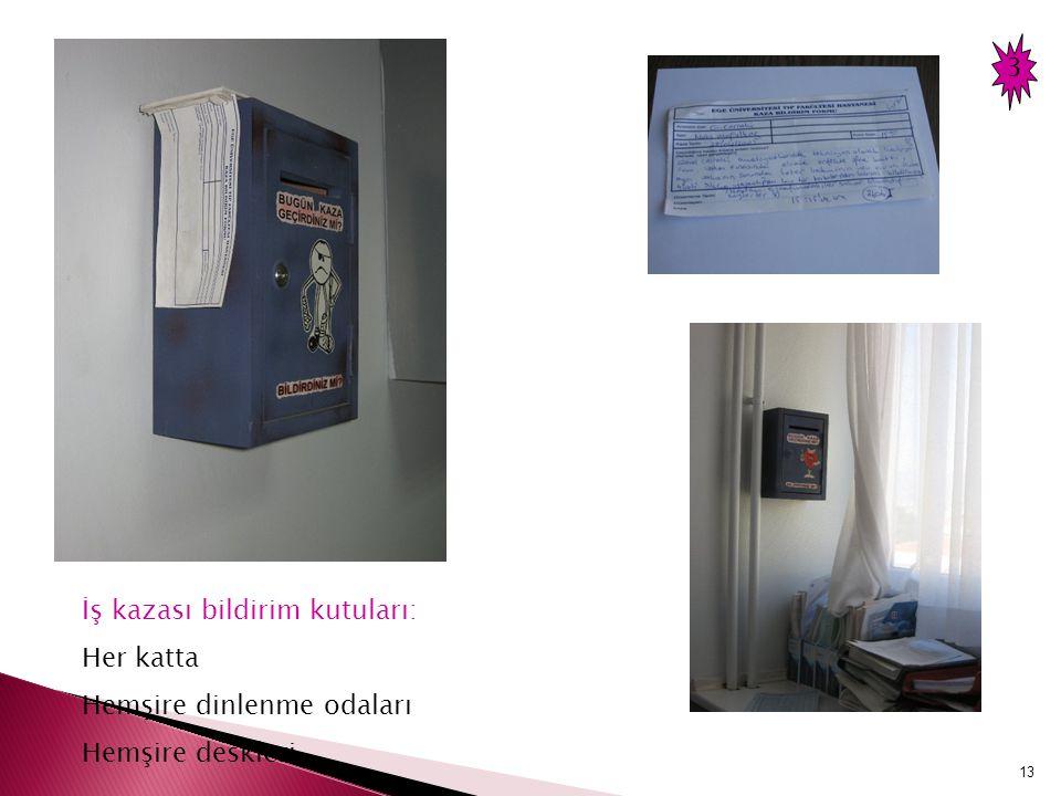 13 İş kazası bildirim kutuları: Her katta Hemşire dinlenme odaları Hemşire deskleri 3
