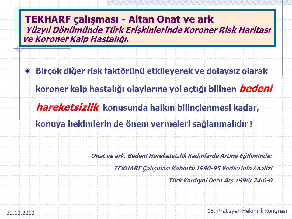 30.10.2010 15. Pratisyen Hekimlik Kongresi TEKHARF çalışması - Altan Onat ve ark Yüzyıl Dönümünde Türk Erişkinlerinde Koroner Risk Haritası ve Koroner