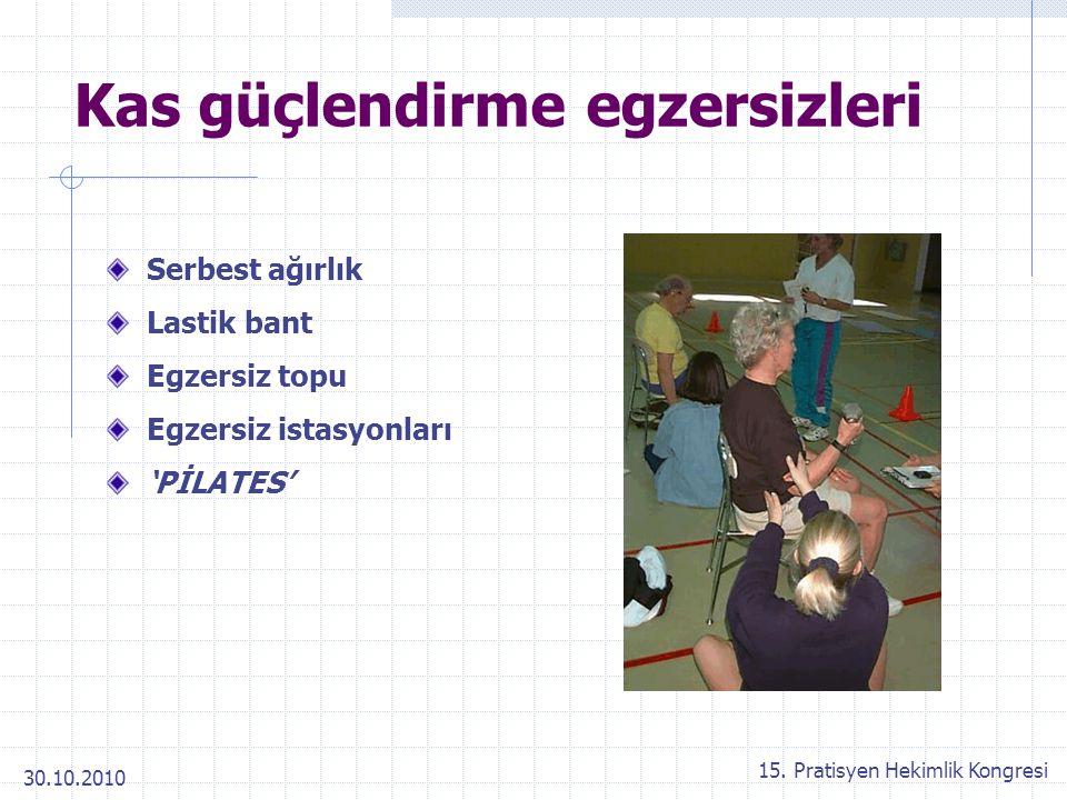 30.10.2010 15. Pratisyen Hekimlik Kongresi Kas güçlendirme egzersizleri Serbest ağırlık Lastik bant Egzersiz topu Egzersiz istasyonları 'PİLATES'