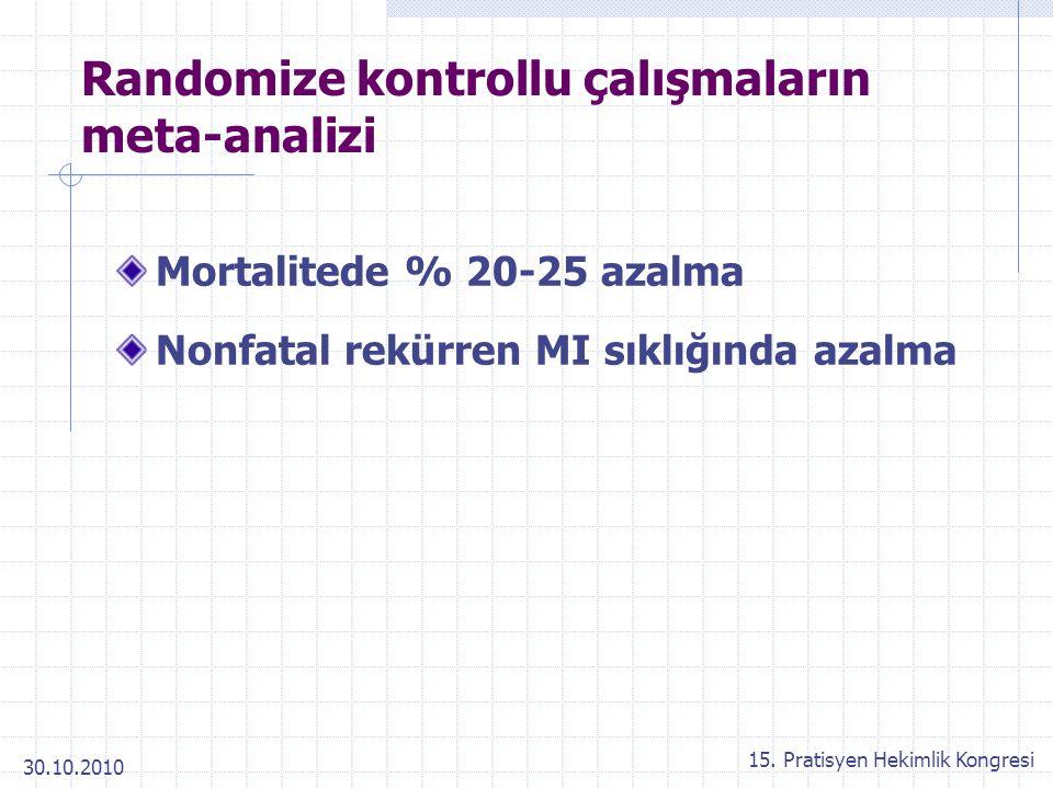 30.10.2010 15. Pratisyen Hekimlik Kongresi Randomize kontrollu çalışmaların meta-analizi Mortalitede % 20-25 azalma Nonfatal rekürren MI sıklığında az