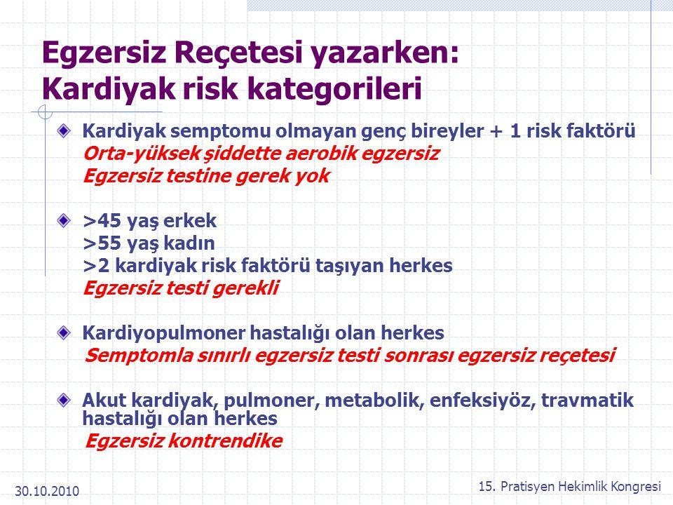 30.10.2010 15. Pratisyen Hekimlik Kongresi Egzersiz Reçetesi yazarken: Kardiyak risk kategorileri Kardiyak semptomu olmayan genç bireyler + 1 risk fak