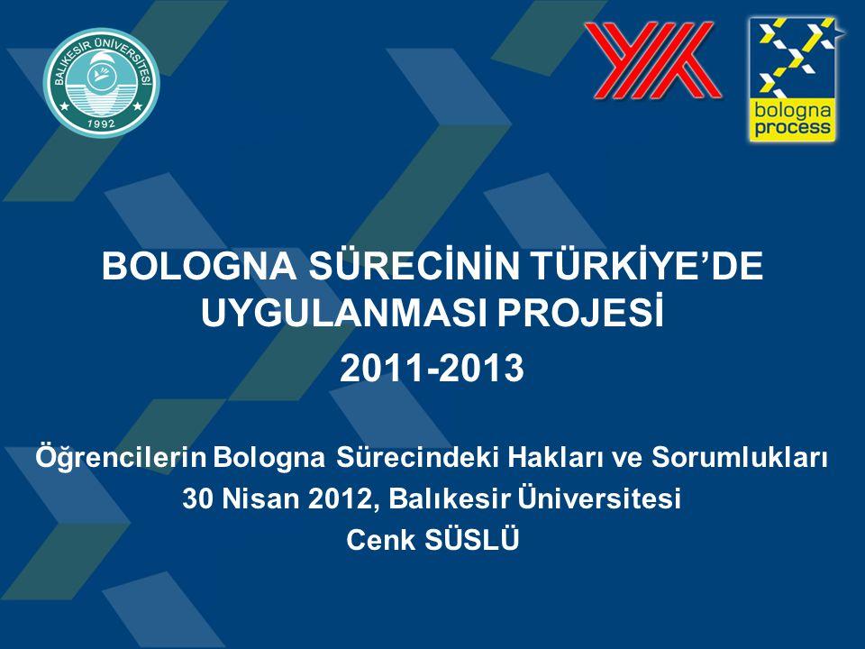 BOLOGNA SÜRECİNİN TÜRKİYE'DE UYGULANMASI PROJESİ 2011-2013 Öğrencilerin Bologna Sürecindeki Hakları ve Sorumlukları 30 Nisan 2012, Balıkesir Üniversitesi Cenk SÜSLÜ