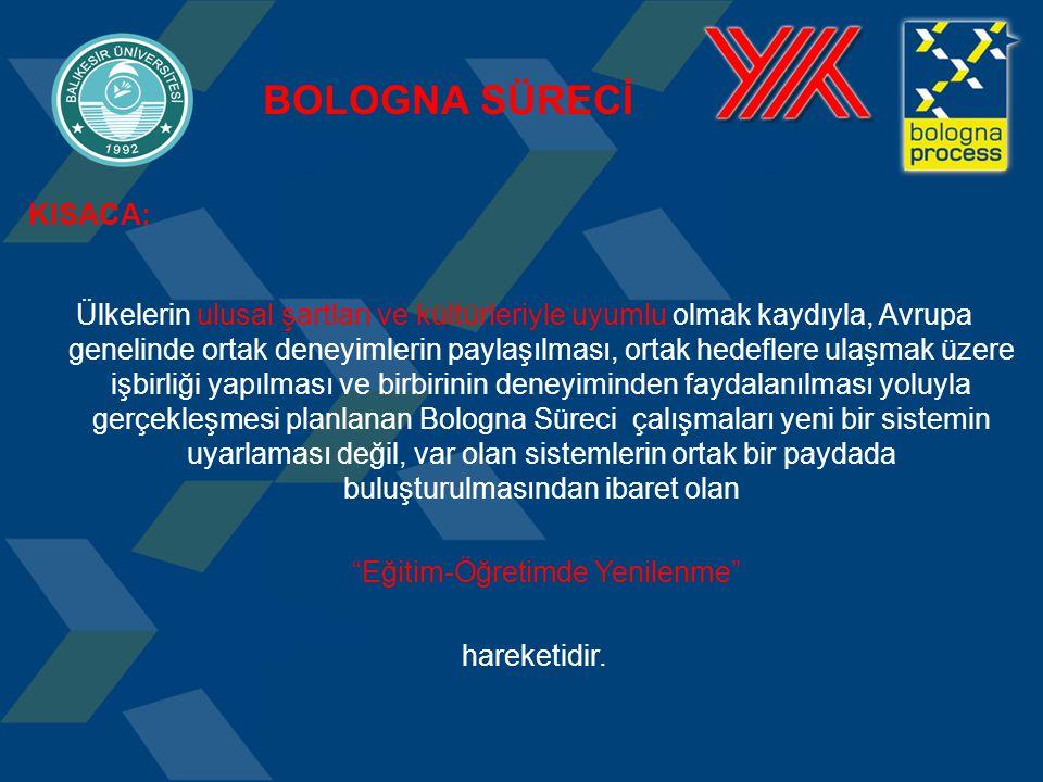 KISACA: Ülkelerin ulusal şartları ve kültürleriyle uyumlu olmak kaydıyla, Avrupa genelinde ortak deneyimlerin paylaşılması, ortak hedeflere ulaşmak üzere işbirliği yapılması ve birbirinin deneyiminden faydalanılması yoluyla gerçekleşmesi planlanan Bologna Süreci çalışmaları yeni bir sistemin uyarlaması değil, var olan sistemlerin ortak bir paydada buluşturulmasından ibaret olan Eğitim-Öğretimde Yenilenme hareketidir.
