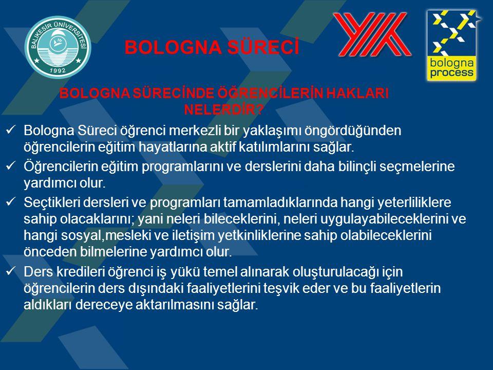 BOLOGNA SÜRECİ Bologna Süreci öğrenci merkezli bir yaklaşımı öngördüğünden öğrencilerin eğitim hayatlarına aktif katılımlarını sağlar. Öğrencilerin eğ