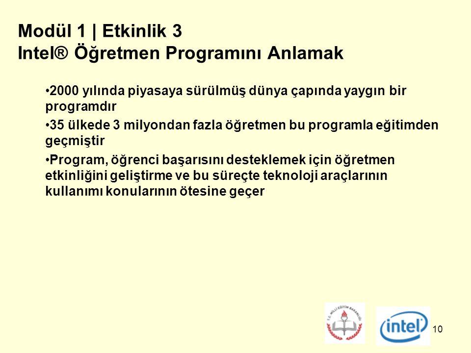 10 Modül 1 | Etkinlik 3 Intel® Öğretmen Programını Anlamak 2000 yılında piyasaya sürülmüş dünya çapında yaygın bir programdır 35 ülkede 3 milyondan fazla öğretmen bu programla eğitimden geçmiştir Program, öğrenci başarısını desteklemek için öğretmen etkinliğini geliştirme ve bu süreçte teknoloji araçlarının kullanımı konularının ötesine geçer
