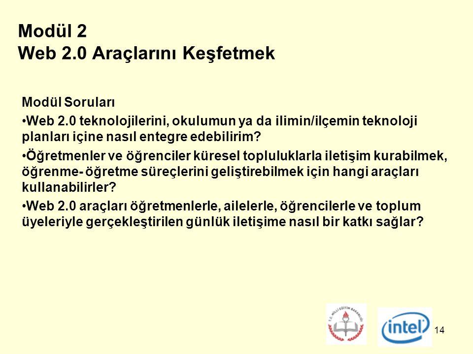 14 Modül 2 Web 2.0 Araçlarını Keşfetmek Modül Soruları Web 2.0 teknolojilerini, okulumun ya da ilimin/ilçemin teknoloji planları içine nasıl entegre edebilirim.
