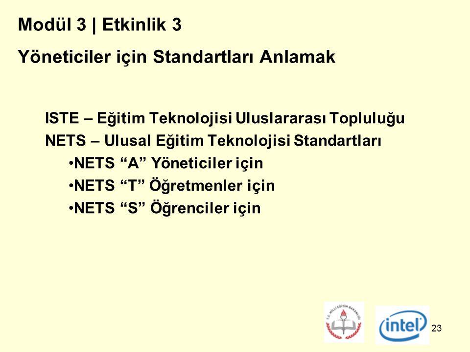 23 Modül 3 | Etkinlik 3 Yöneticiler için Standartları Anlamak ISTE – Eğitim Teknolojisi Uluslararası Topluluğu NETS – Ulusal Eğitim Teknolojisi Standartları NETS A Yöneticiler için NETS T Öğretmenler için NETS S Öğrenciler için