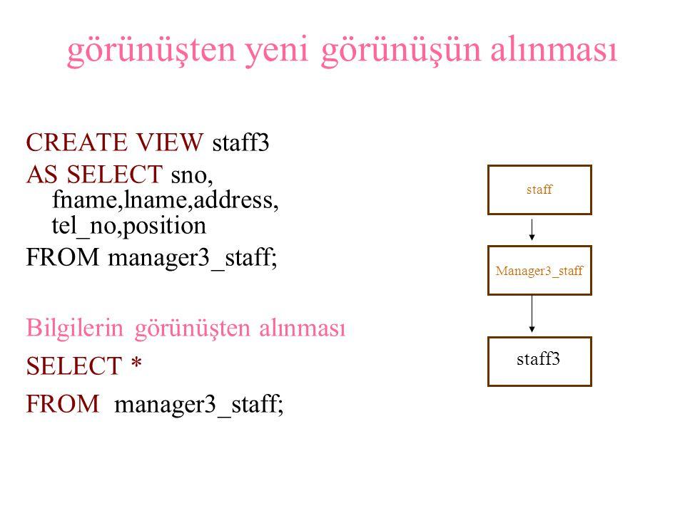 Gruplaştır ma ve bitiştirme işlemlerinin görünüşlerde kullanılması Kiralık evleri kontrol eden personeller hakkında görünüş oluşturmalı ( şube numarası, personel numarası ve kontrol ettikleri evlerin sayısı) CREATE VIEW staff_prop_cnt(branch_no,staff_no,cnt) AS SELECT s.bno,s.sno,COUNT(*) FROM staff s, property_for_rent p WHERE s.sno=p.sno GROUP BY s.bno,s.sno;