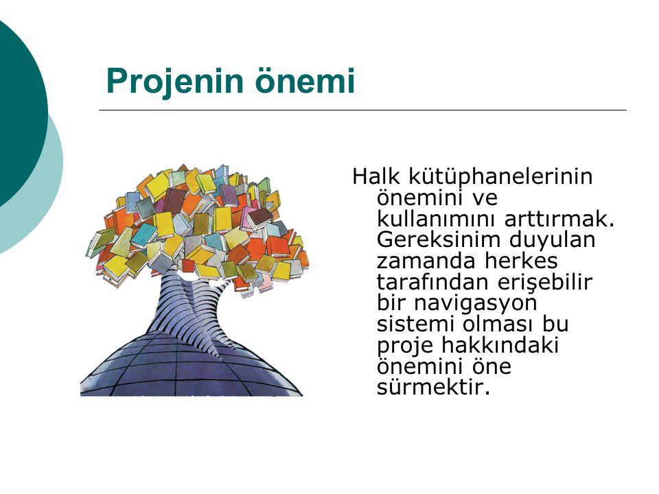 Projenin önemi Halk kütüphanelerinin önemini ve kullanımını arttırmak.