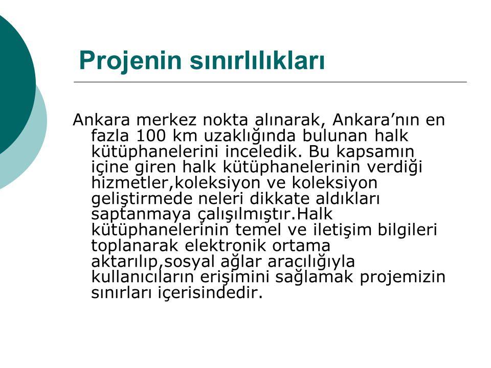 Projenin sınırlılıkları Ankara merkez nokta alınarak, Ankara'nın en fazla 100 km uzaklığında bulunan halk kütüphanelerini inceledik.
