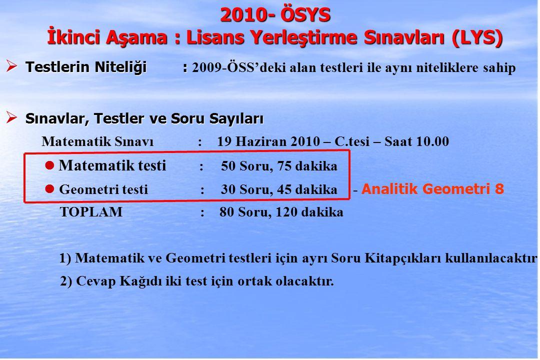 2010-ÖSYS Sunum, İstanbul 29 Ağustos 2009 2010- ÖSYS İkinci Aşama : Lisans Yerleştirme Sınavları (LYS)  Testlerin Niteliği :  Testlerin Niteliği : 2009-ÖSS'deki alan testleri ile aynı niteliklere sahip  Sınavlar, Testler ve Soru Sayıları Matematik Sınavı : 19 Haziran 2010 – C.tesi – Saat 10.00 Matematik testi : 50 Soru, 75 dakika Geometri testi :30 Soru, 45 dakika - Analitik Geometri 8 TOPLAM : 80 Soru, 120 dakika 1) Matematik ve Geometri testleri için ayrı Soru Kitapçıkları kullanılacaktır 2) Cevap Kağıdı iki test için ortak olacaktır.