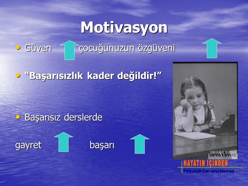 """Motivasyon Güven çocuğunuzun özgüveni Güven çocuğunuzun özgüveni """"Başarısızlık kader değildir!"""" """"Başarısızlık kader değildir!"""" Başarısız derslerde Baş"""