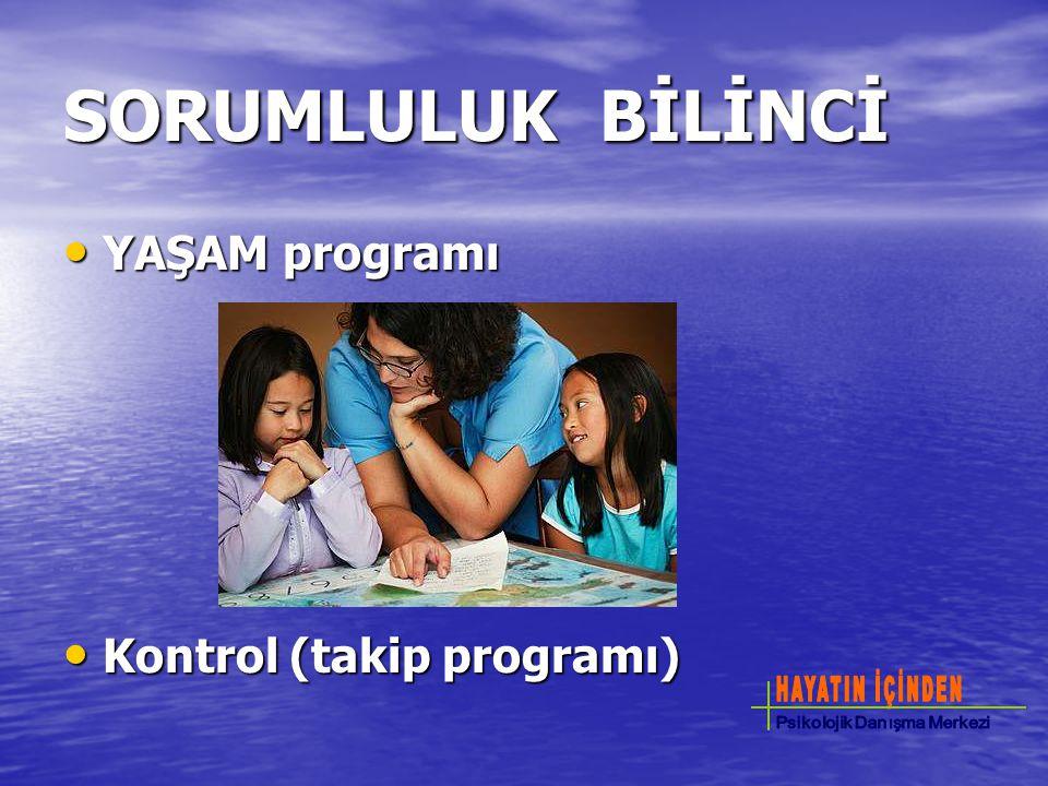 SORUMLULUK BİLİNCİ YAŞAM programı YAŞAM programı Kontrol (takip programı) Kontrol (takip programı)