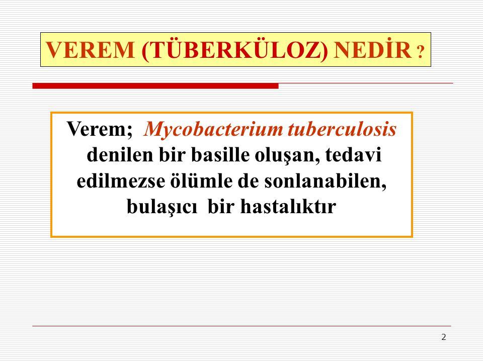2 VEREM (TÜBERKÜLOZ) NEDİR ? Verem; Mycobacterium tuberculosis denilen bir basille oluşan, tedavi edilmezse ölümle de sonlanabilen, bulaşıcı bir hasta