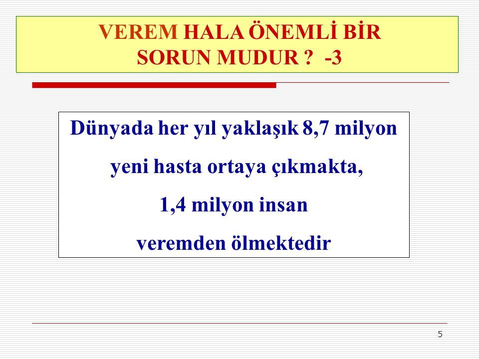 6 Türkiye de 10-15 milyon arası insanın enfekte olduğu (vücutlarında verem mikrobu olduğu) tahmin edilmektedir TÜRKİYE DE TÜBERKÜLOZUN DURUMU NEDİR?