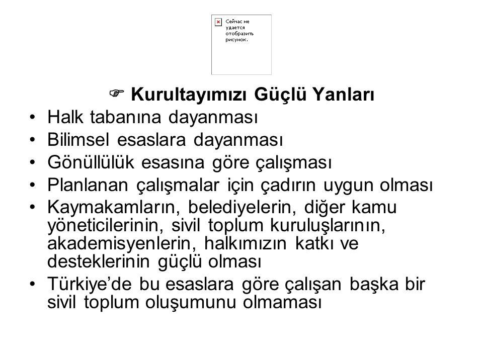  Kurultayımızı Güçlü Yanları Halk tabanına dayanması Bilimsel esaslara dayanması Gönüllülük esasına göre çalışması Planlanan çalışmalar için çadırın uygun olması Kaymakamların, belediyelerin, diğer kamu yöneticilerinin, sivil toplum kuruluşlarının, akademisyenlerin, halkımızın katkı ve desteklerinin güçlü olması Türkiye'de bu esaslara göre çalışan başka bir sivil toplum oluşumunu olmaması