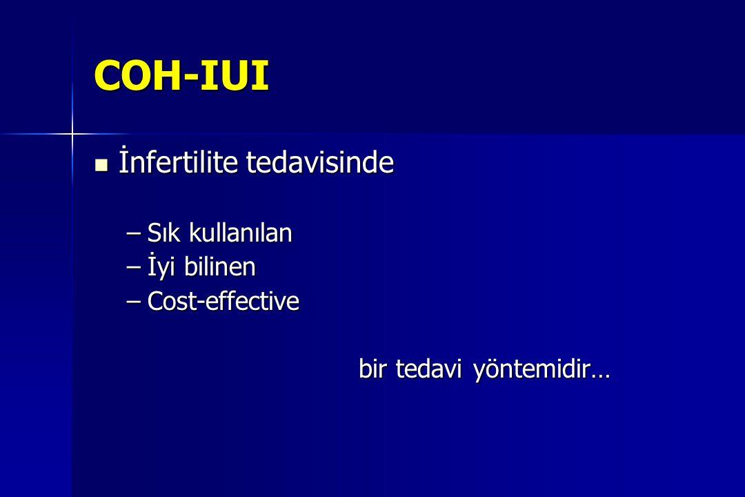 COH-IUI İnfertilite tedavisinde İnfertilite tedavisinde –Sık kullanılan –İyi bilinen –Cost-effective bir tedavi yöntemidir…