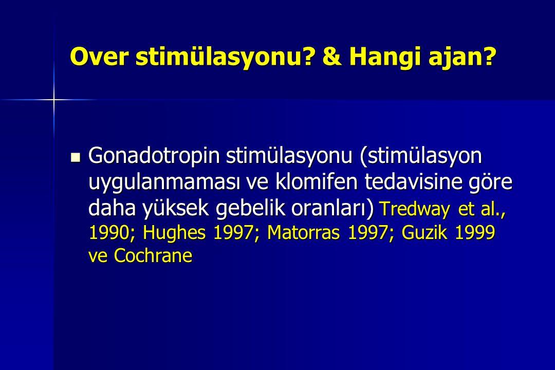 Over stimülasyonu? & Hangi ajan? Gonadotropin stimülasyonu (stimülasyon uygulanmaması ve klomifen tedavisine göre daha yüksek gebelik oranları) Tredwa