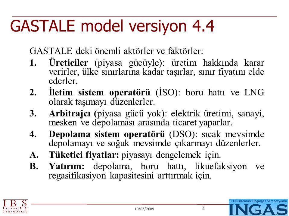 10/06/2009 2 GASTALE model versiyon 4.4 GASTALE deki önemli aktörler ve faktörler: 1.Üreticiler (piyasa gücüyle): üretim hakkında karar verirler, ülke