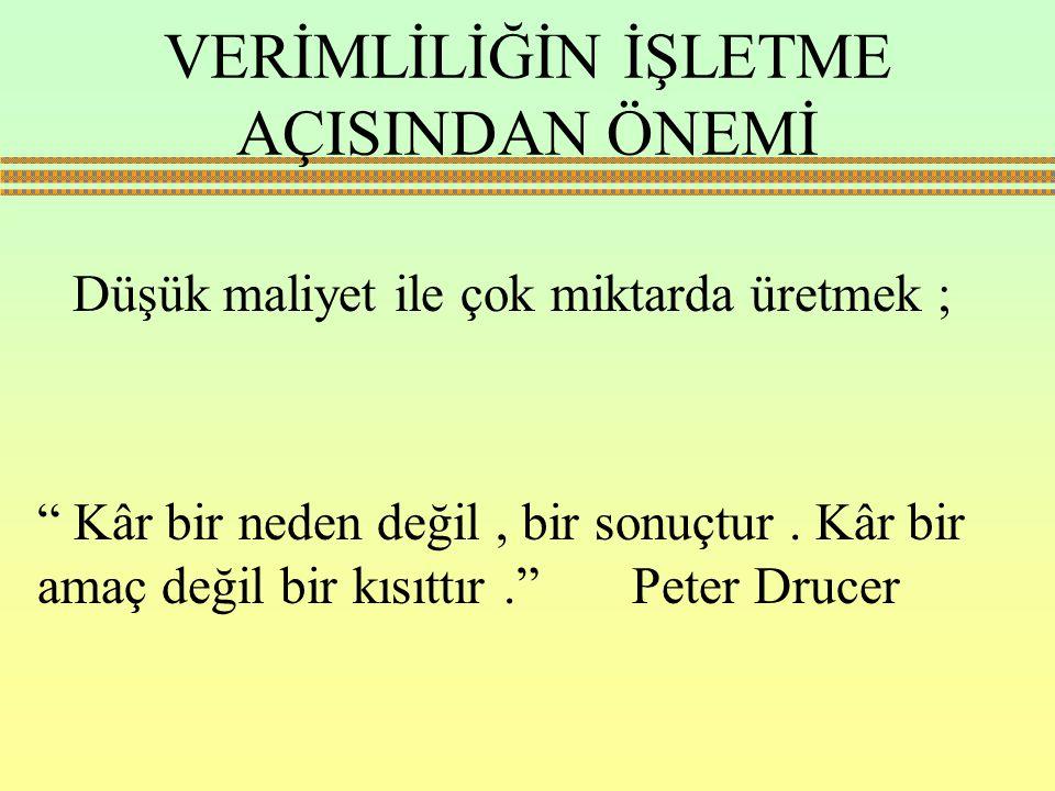 """Düşük maliyet ile çok miktarda üretmek ; """" Kâr bir neden değil, bir sonuçtur. Kâr bir amaç değil bir kısıttır."""" Peter Drucer VERİMLİLİĞİN İŞLETME AÇIS"""