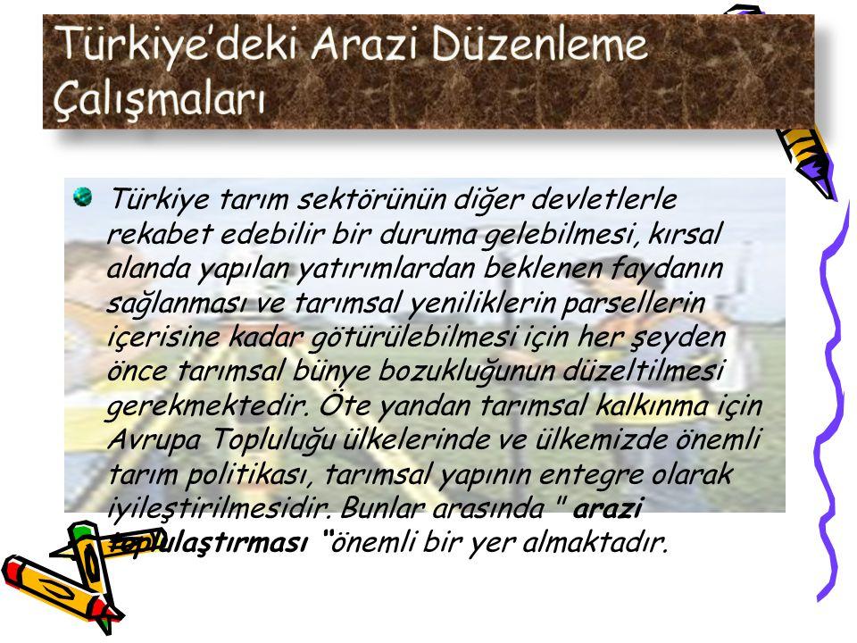 Türkiye tarım sektörünün diğer devletlerle rekabet edebilir bir duruma gelebilmesi, kırsal alanda yapılan yatırımlardan beklenen faydanın sağlanması ve tarımsal yeniliklerin parsellerin içerisine kadar götürülebilmesi için her şeyden önce tarımsal bünye bozukluğunun düzeltilmesi gerekmektedir.