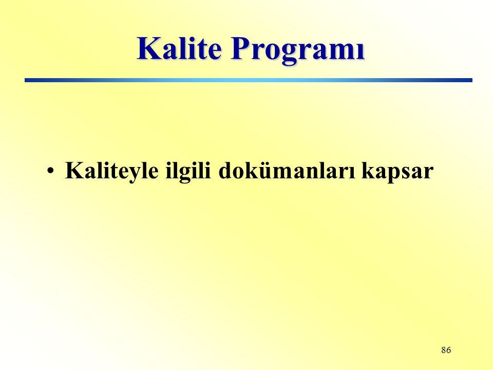 85 Denetimin Hedefi Kalite programı Kalite sistemi Yönetimin kalitesi Ürün kalitesi Süreç kalitesi Servis kalitesi