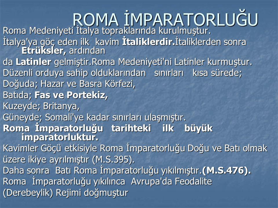 ROMA İMPARATORLUĞU ROMA İMPARATORLUĞU Roma Medeniyeti İtalya topraklarında kurulmuştur. İtalya'ya göç eden ilk kavim İtaliklerdir.İtaliklerden sonra E