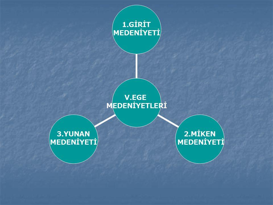 V.EGE MEDENİYETLERİ 1.GİRİT MEDENİYETİ 2.MİKEN MEDENİYETİ 3.YUNAN MEDENİYETİ
