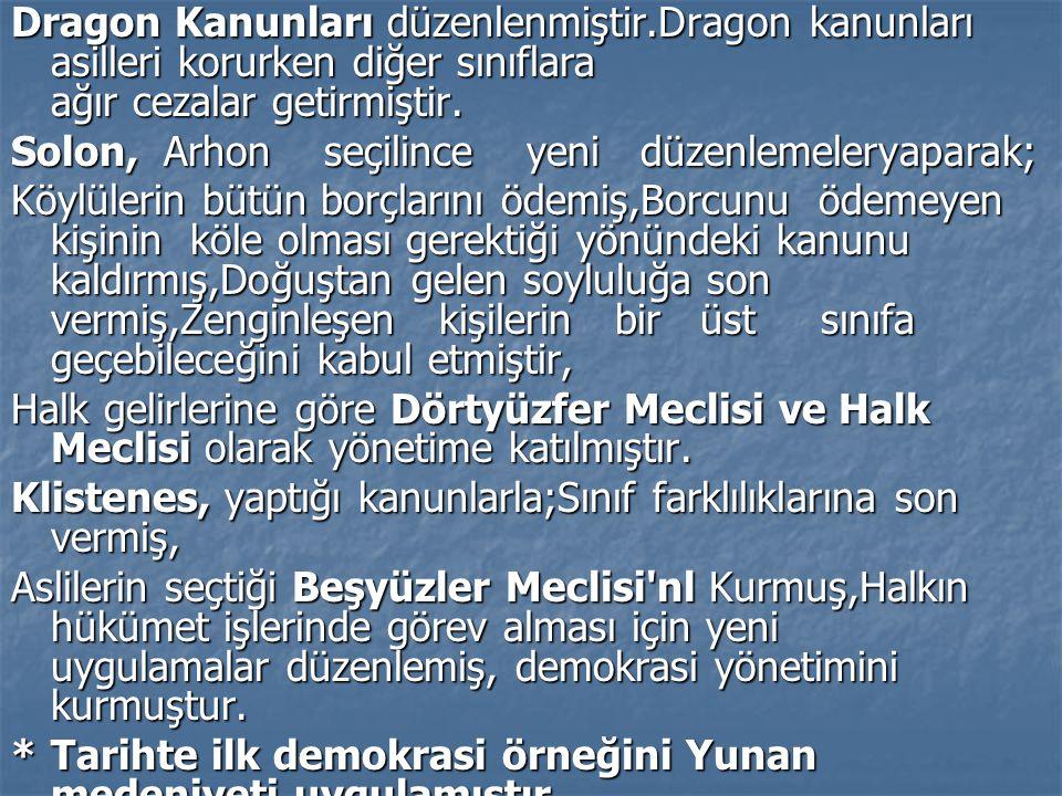 Dragon Kanunları düzenlenmiştir.Dragon kanunları asilleri korurken diğer sınıflara ağır cezalar getirmiştir. Solon, Arhon seçilince yeni düzenlemelery