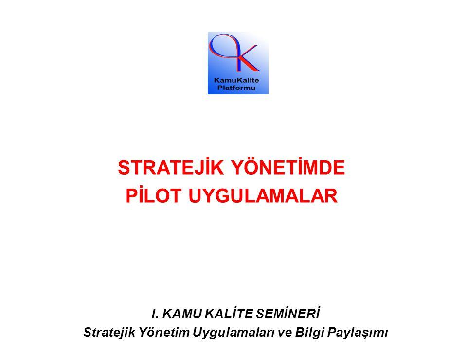 STRATEJİK YÖNETİMDE PİLOT UYGULAMALAR I. KAMU KALİTE SEMİNERİ Stratejik Yönetim Uygulamaları ve Bilgi Paylaşımı