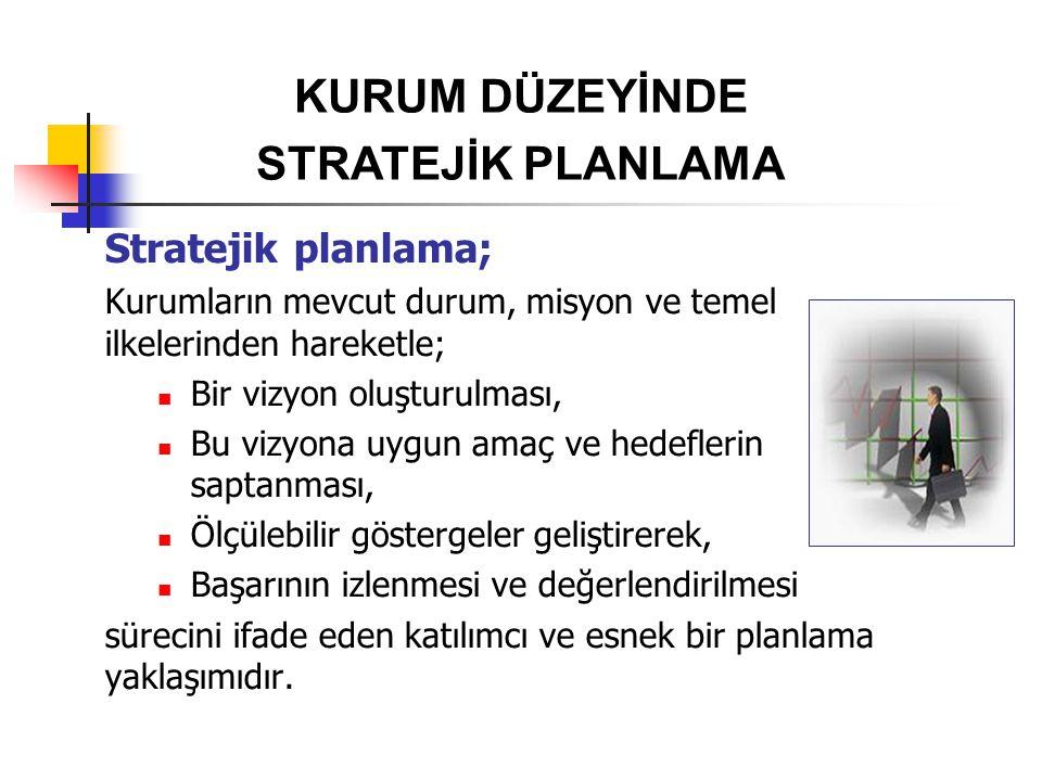 Stratejik planlama; Kurumların mevcut durum, misyon ve temel ilkelerinden hareketle; Bir vizyon oluşturulması, Bu vizyona uygun amaç ve hedeflerin sap