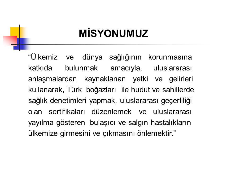 """""""Ülkemiz ve dünya sağlığının korunmasına katkıda bulunmak amacıyla, uluslararası anlaşmalardan kaynaklanan yetki ve gelirleri kullanarak, Türk boğazla"""