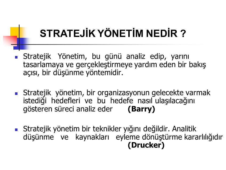 Stratejik Yönetim, bu günü analiz edip, yarını tasarlamaya ve gerçekleştirmeye yardım eden bir bakış açısı, bir düşünme yöntemidir. Stratejik yönetim,