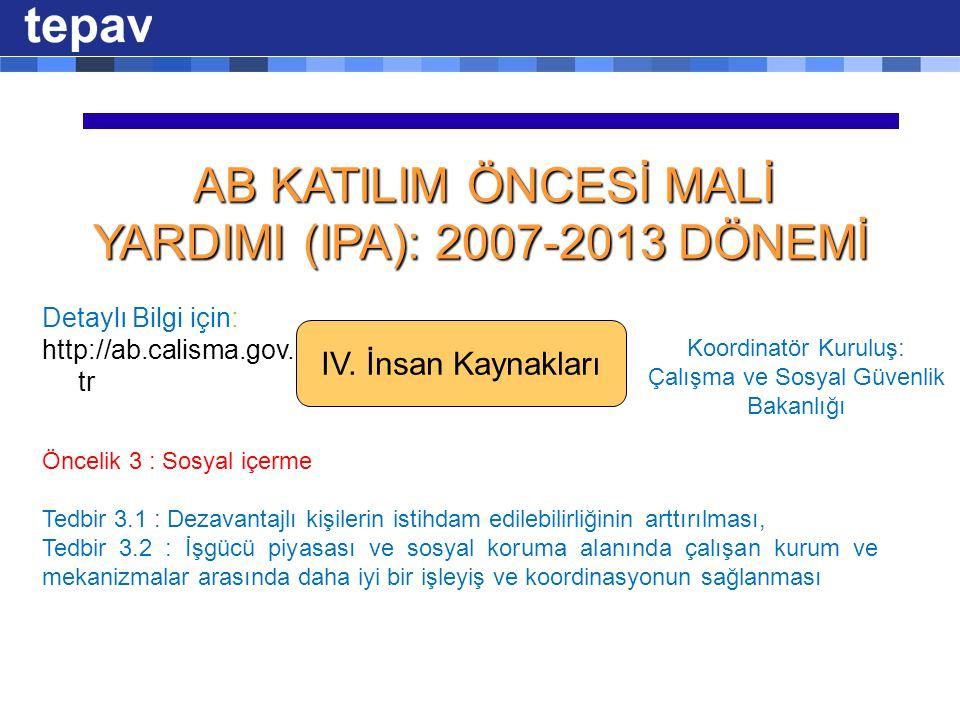 AB KATILIM ÖNCESİ MALİ YARDIMI (IPA): 2007-2013 DÖNEMİ AB KATILIM ÖNCESİ MALİ YARDIMI (IPA): 2007-2013 DÖNEMİ IV.