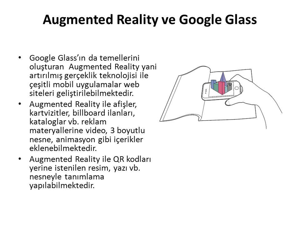 Augmented Reality ve Google Glass Google Glass'ın da temellerini oluşturan Augmented Reality yani artırılmış gerçeklik teknolojisi ile çeşitli mobil u