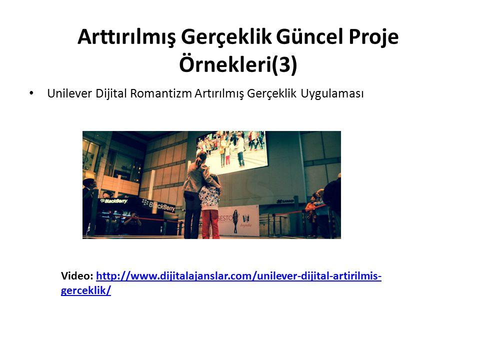 Arttırılmış Gerçeklik Güncel Proje Örnekleri(3) Unilever Dijital Romantizm Artırılmış Gerçeklik Uygulaması Video: http://www.dijitalajanslar.com/unile
