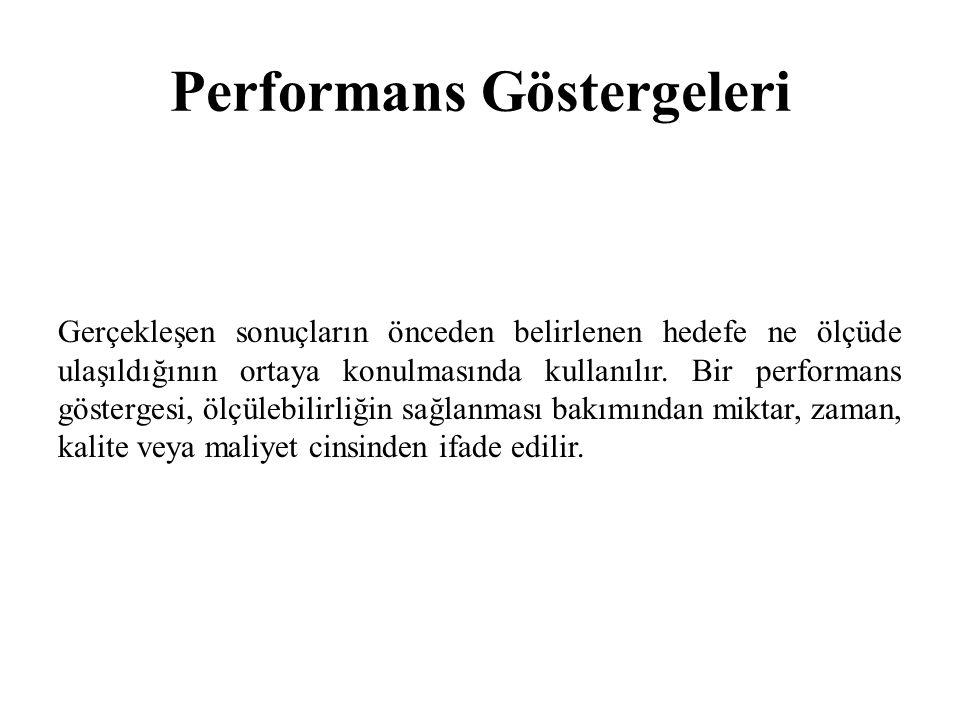 Performans Göstergeleri Gerçekleşen sonuçların önceden belirlenen hedefe ne ölçüde ulaşıldığının ortaya konulmasında kullanılır. Bir performans göster
