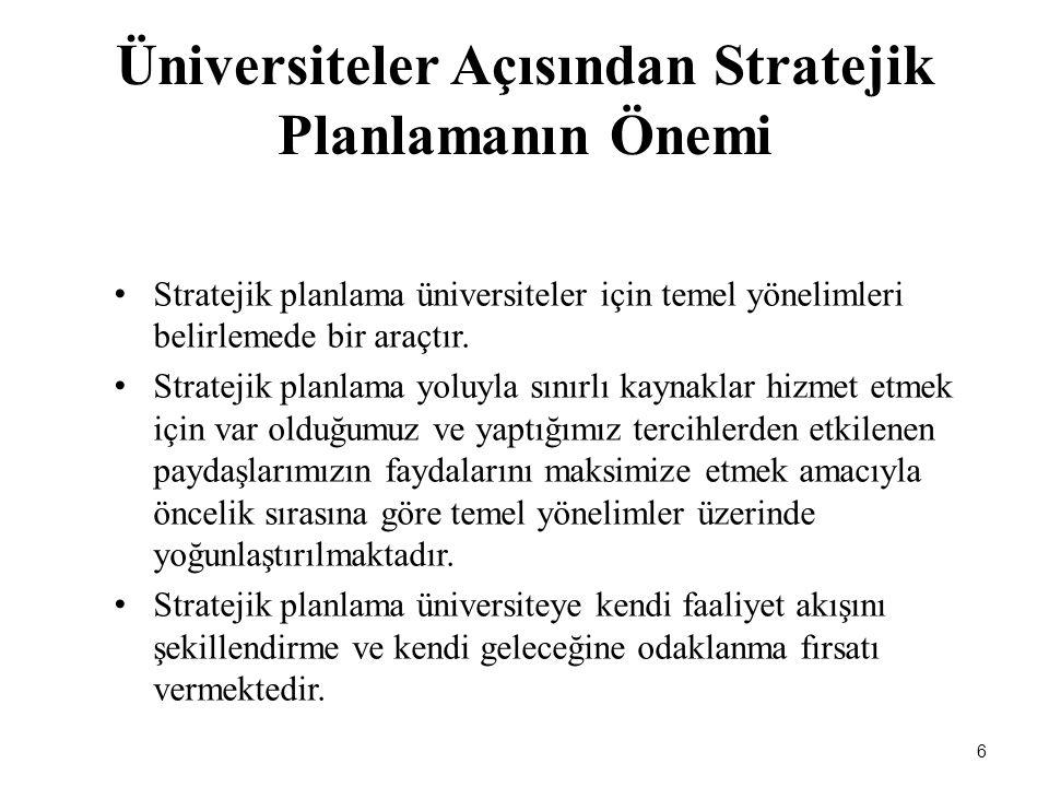 6 Üniversiteler Açısından Stratejik Planlamanın Önemi Stratejik planlama üniversiteler için temel yönelimleri belirlemede bir araçtır. Stratejik planl