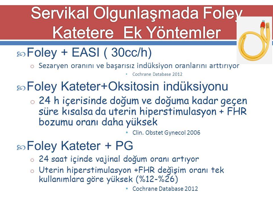  Foley + EASI ( 30cc/h) o Sezaryen oranını ve başarısız indüksiyon oranlarını arttırıyor Cochrane Database 2012  Foley Kateter+Oksitosin indüksiyonu