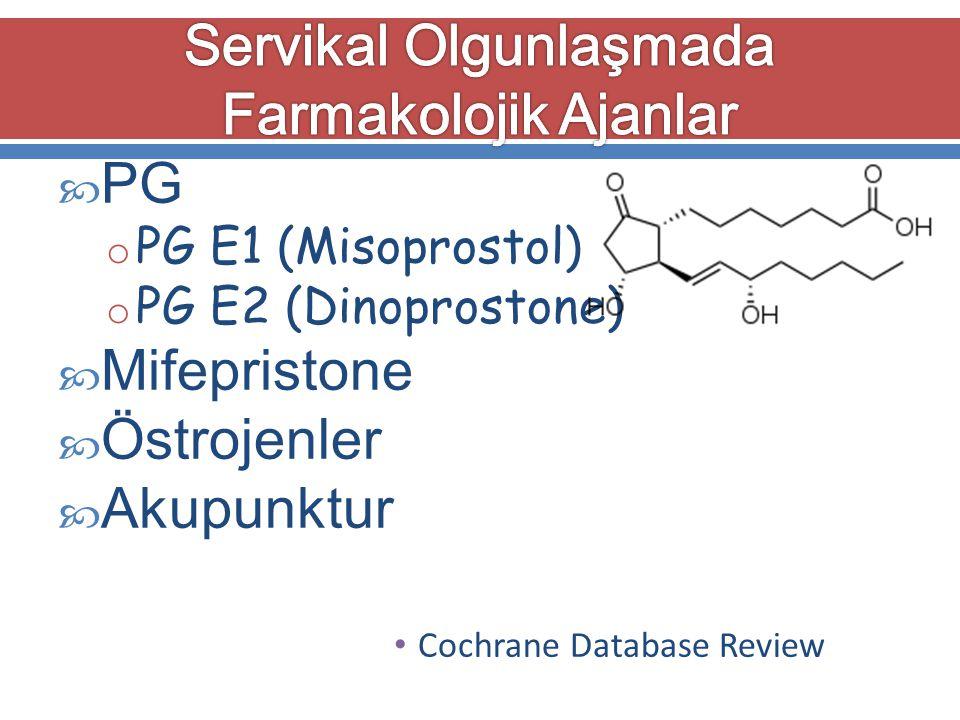 PG o PG E1 (Misoprostol) o PG E2 (Dinoprostone)  Mifepristone  Östrojenler  Akupunktur Cochrane Database Review