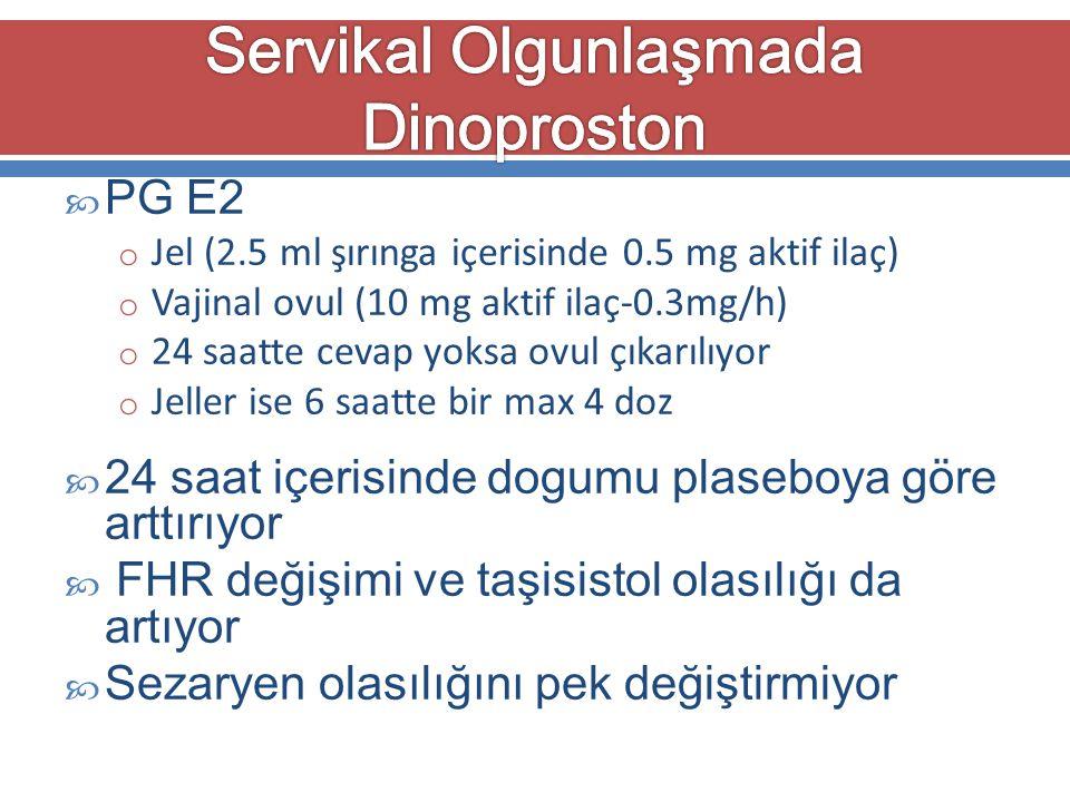  PG E2 o Jel (2.5 ml şırınga içerisinde 0.5 mg aktif ilaç) o Vajinal ovul (10 mg aktif ilaç-0.3mg/h) o 24 saatte cevap yoksa ovul çıkarılıyor o Jelle