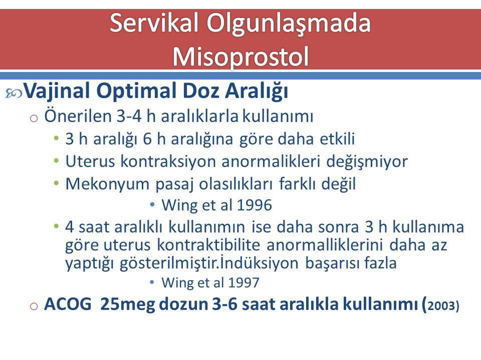  Vajinal Optimal Doz Aralığı o Önerilen 3-4 h aralıklarla kullanımı 3 h aralığı 6 h aralığına göre daha etkili Uterus kontraksiyon anormalikleri deği
