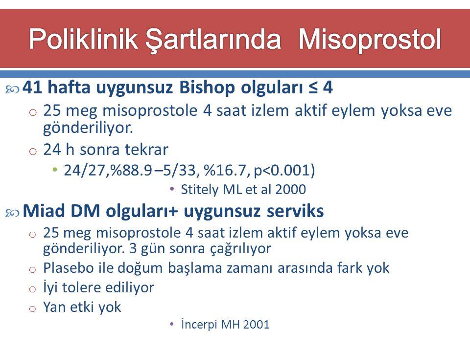  41 hafta uygunsuz Bishop olguları ≤ 4 o 25 meg misoprostole 4 saat izlem aktif eylem yoksa eve gönderiliyor. o 24 h sonra tekrar 24/27,%88.9 –5/33,