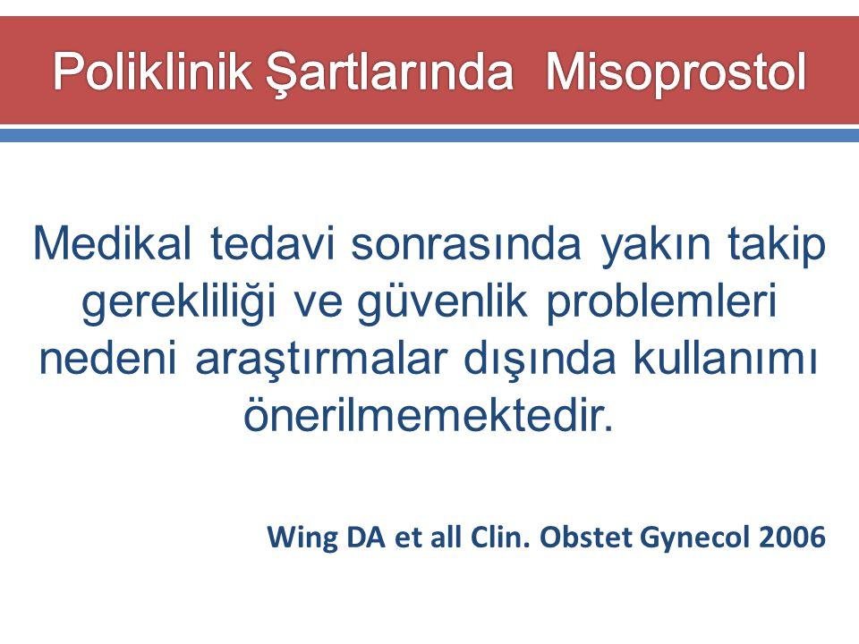Medikal tedavi sonrasında yakın takip gerekliliği ve güvenlik problemleri nedeni araştırmalar dışında kullanımı önerilmemektedir. Wing DA et all Clin.