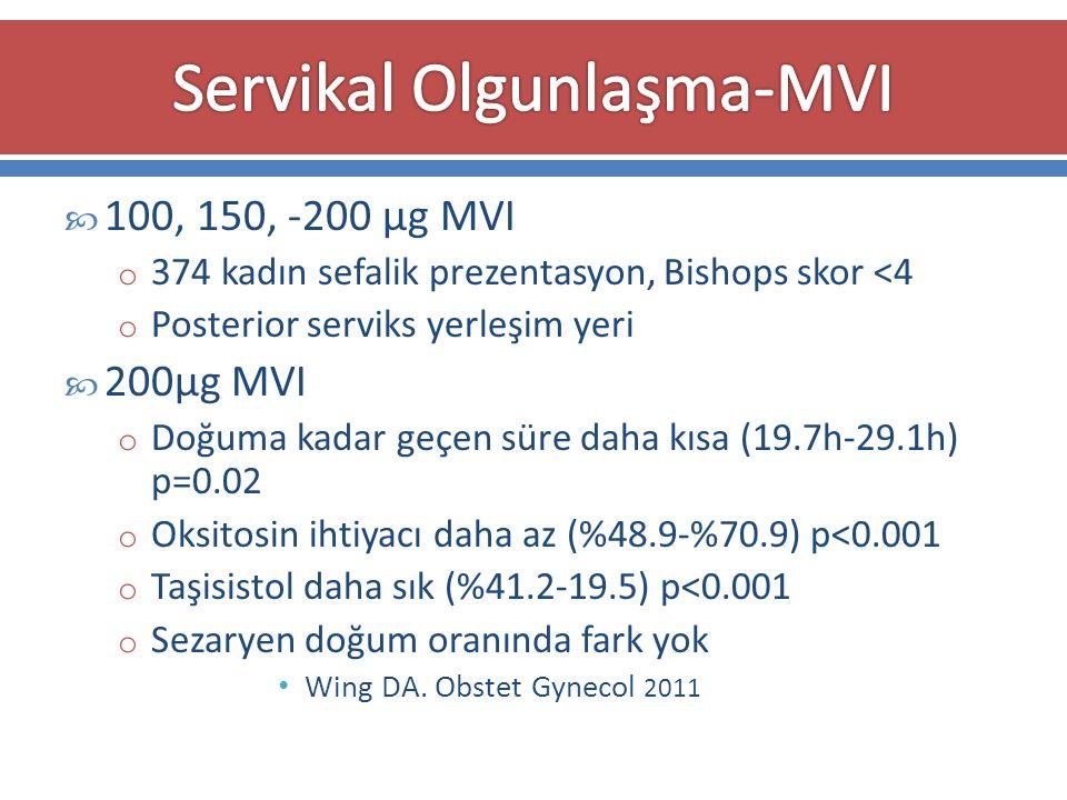  100, 150, -200 μg MVI o 374 kadın sefalik prezentasyon, Bishops skor <4 o Posterior serviks yerleşim yeri  200μg MVI o Doğuma kadar geçen süre daha