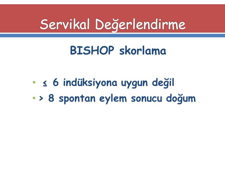 BISHOP skorlama ≤ 6 indüksiyona uygun değil > 8 spontan eylem sonucu doğum