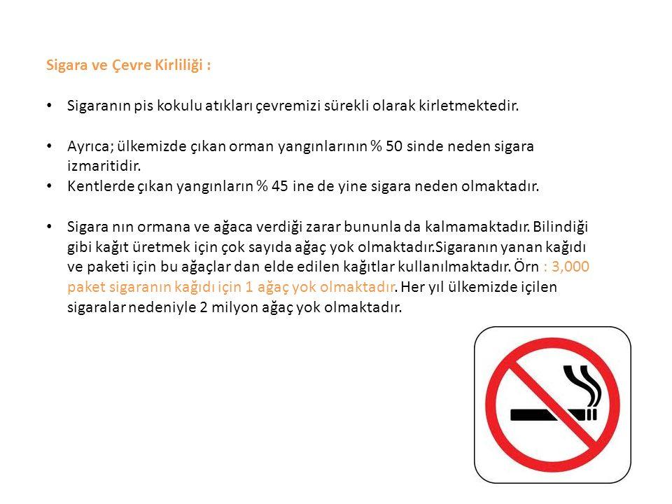 Sigara ve Çevre Kirliliği : Sigaranın pis kokulu atıkları çevremizi sürekli olarak kirletmektedir. Ayrıca; ülkemizde çıkan orman yangınlarının % 50 si